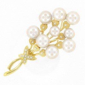 Broche Oro Perlas Cristal