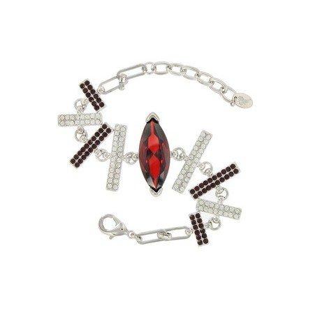 5188222 Pulsera De Oro Blanco En Colores Cristal Rojo Negro Con Cristales Circonitas 8455555188222