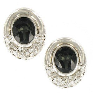 EARRING - PLATED: SILVER - IN COLOURS: BLACK