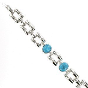 BRACELETS - PLATED: RHODIUM - IN COLOURS: BLUE, TURQUOISE