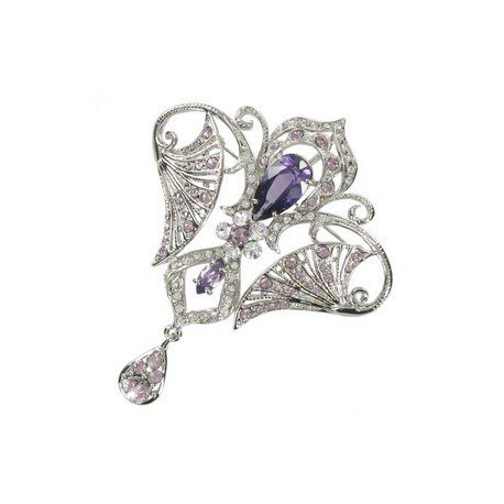 BROOCHES - PLATED: ANTIQUE SILVER - IN COLOURS: PURPLE, CRYSTAL