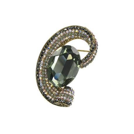 BROOCHES - PLATED: GOLD - IN COLOURS: BLACK, GRAY