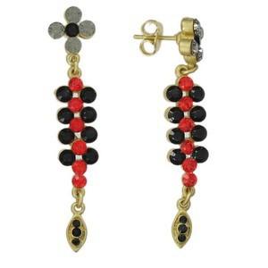 Pendientes de oro en colores rojo, gris, negro. Largos. Con cristales