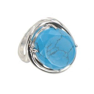 RINGS - PLATED: RHODIUM - IN COLOURS: BLUE, TURQUOISE