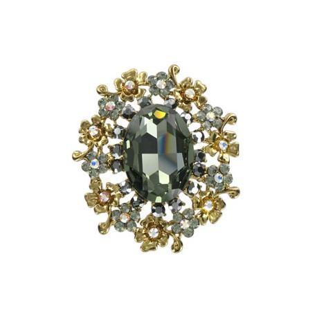 Broche de oro en colores cristal, gris. Mediano. Con cristales