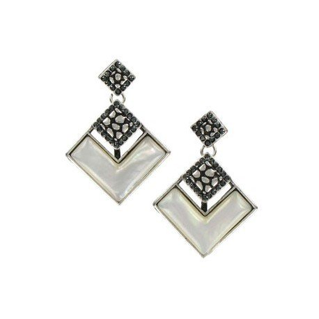 EARRING - PLATED: ANTIQUE SILVER - IN COLOURS: WHITED