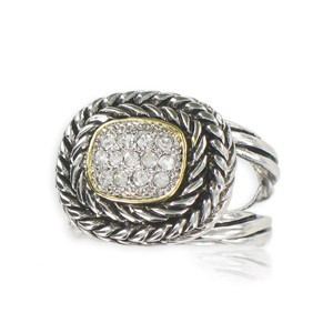 Sortija-Anillo de plata antigua en color cristal. Con cristales