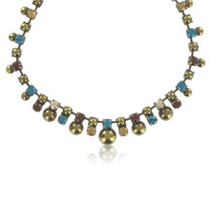 NECKLACES - PLATED: GOLD - IN COLOURS: BLUE, TOPAZ, BROWN