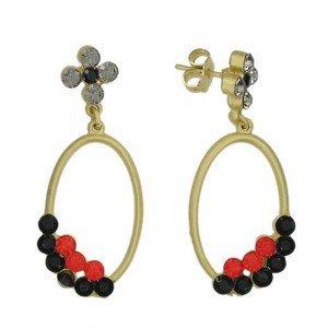 Pendientes de oro en colores negro, rojo, gris. Largos. Con cristales