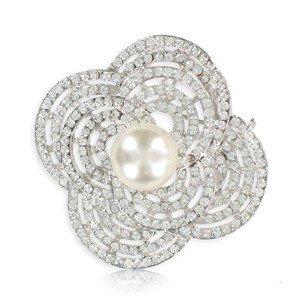 Broche de oro blanco en color cristal. Mediano. Con cristales, perlas