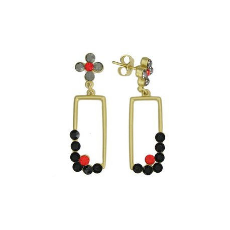 EARRING - PLATED: GOLD - IN COLOURS: PREVAILING COLOUR RED, BLACK, GRAY