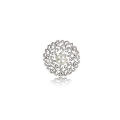 Broche de oro blanco en color cristal. Mediano. Con circonitas, perlas