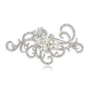 Broche de oro blanco en color cristal. Pequeño. Con circonitas, perlas