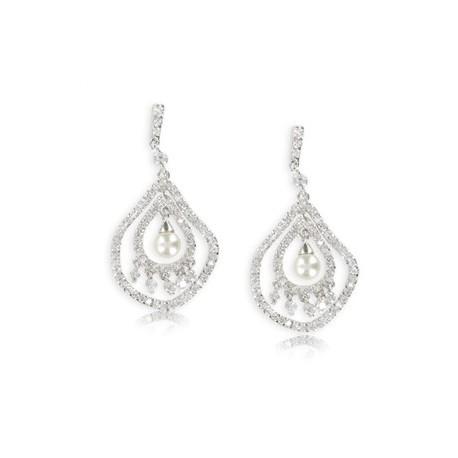 Pendientes de oro blanco en color cristal. Largos. Con circonitas, perlas