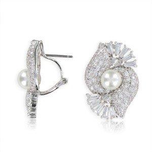 Pendientes de oro blanco con perla