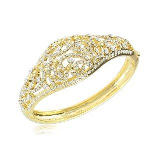 Pulsera de oro en color cristal. Con cristales