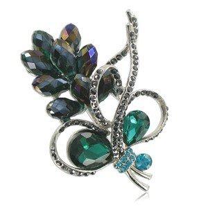 Broche de plata antigua en colores azul, multicolor, verde, gris. Con estilo flores