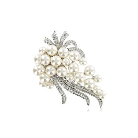 Broche Oro Blanco Cristal Perlas Ramillete