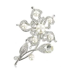 Broche Oro Blanco Cristal Perlas Flor