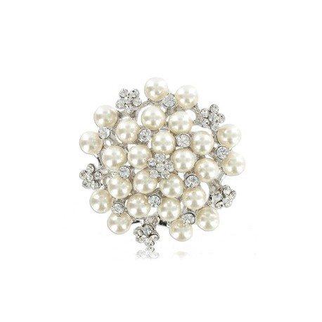 Broche Oro Blanco Cristal Perlas Circular