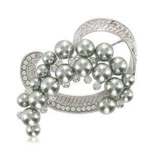 Broche Oro Blanco Cristal Perlas Corazón
