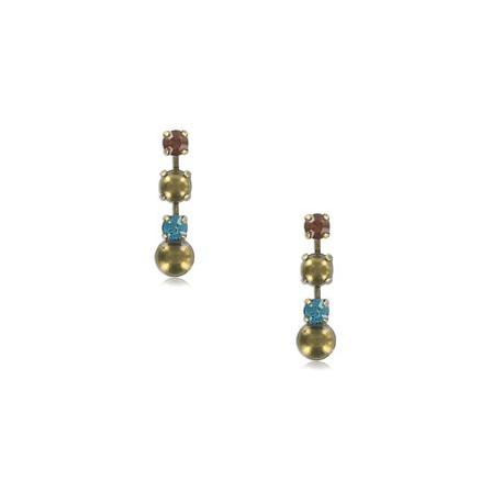 Pendientes de oro en colores topacio, marrón, azul. Cortos. Con cristales
