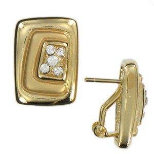 Pendientes de oro en color cristal. Cortos. Con cristales. Cierre tipo omega.