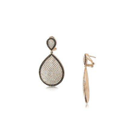 Pendientes de Oro Rosa. combinado en colores negro y cristal. Largos/medianos montado con circonitas.
