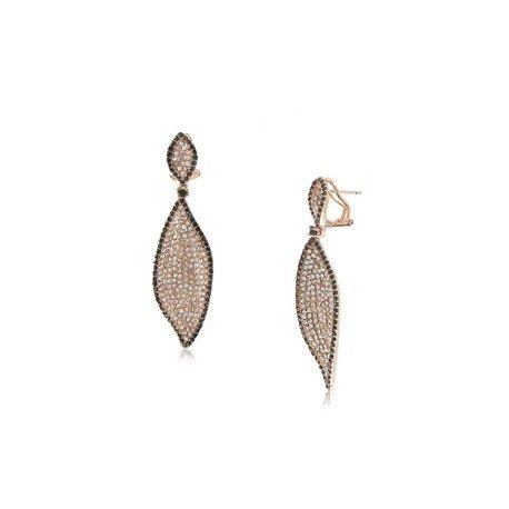Pendientes de Oro Rosa en colores negro y cristal. Medianos. Con ccirconitas