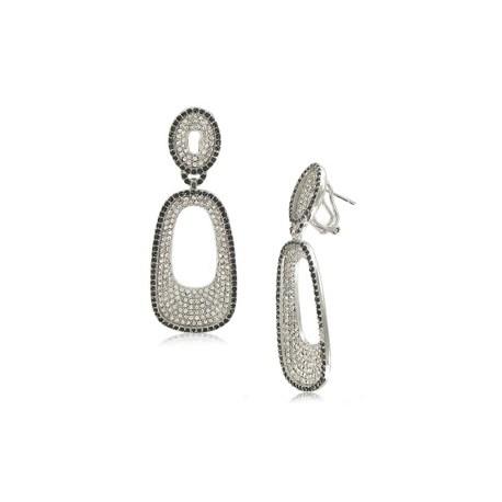 Pendientes de oro blanco en colores negro, cristal. largos/Medianos.