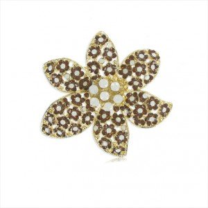 BROOCHES - PLATED: GOLD - IN COLOURS: WHITED, TOPAZ, BROWN