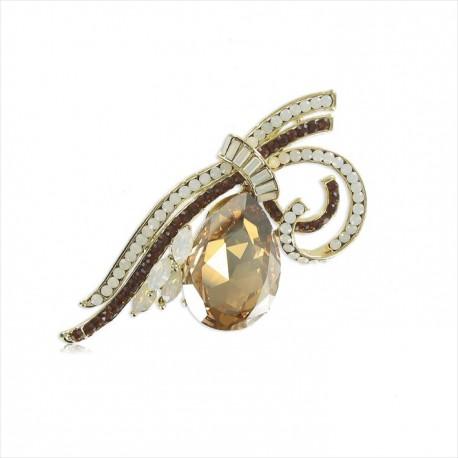 Broche Oro Cristales Zirconia Topacio