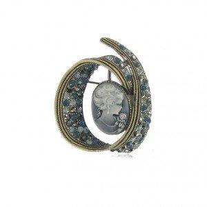 Broche Oro Antiguo Cristales