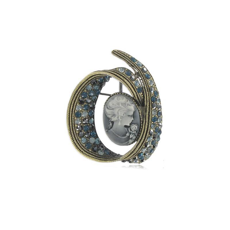 Traje Baño Hombre Antiguo:Broche de oro antiguo en colores azul, gris, negro Mediano Con