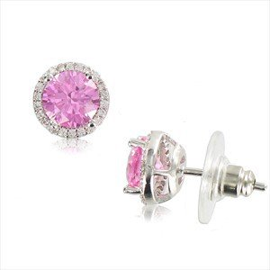 Pendientes de oro blanco en colores rosa, cristal. Cortos. Con circonitas