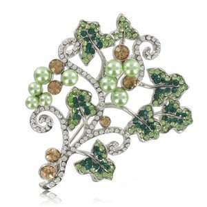 BROOCHES - PLATED: ANTIQUE SILVER - IN COLOURS: GREEN, TOPAZ, CRYSTAL
