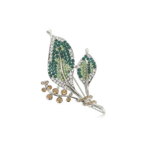 Broche Plata Antigua Cristal Verde Topacio