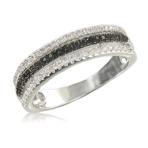 RINGS - PLATED: RHODIUM - IN COLOURS: BLACK, CRYSTAL