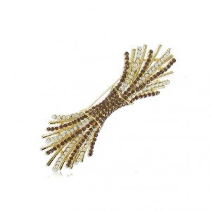 Broche Oro Ramillete Cristales