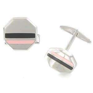 TWINS - PLATED: RHODIUM - IN COLOURS: BLACK, PINK