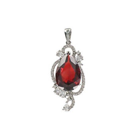 PENDANTS - PLATED: RHODIUM - IN COLOURS: PREVAILING COLOUR RED, CRYSTAL