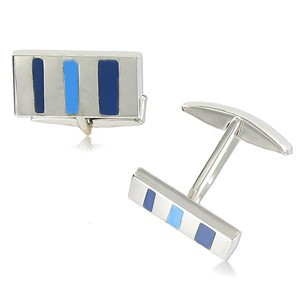 TWINS - PLATED: RHODIUM - IN COLOURS: BLUE
