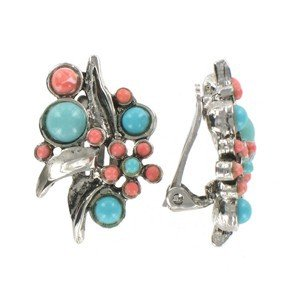 Pendientes de plata antigua en colores turquesa, coral. Cortos. Con adornos en resina