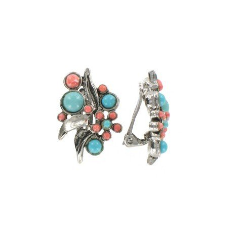 EARRING - PLATED: ANTIQUE SILVER - IN COLOURS: TURQUOISE, CORAL