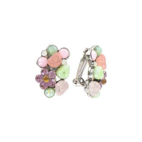 EARRING - PLATED: RHODIUM - IN COLOURS: MULTICOLOR