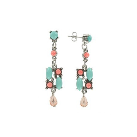 EARRING - PLATED: RHODIUM - IN COLOURS: TURQUOISE, MULTICOLOR