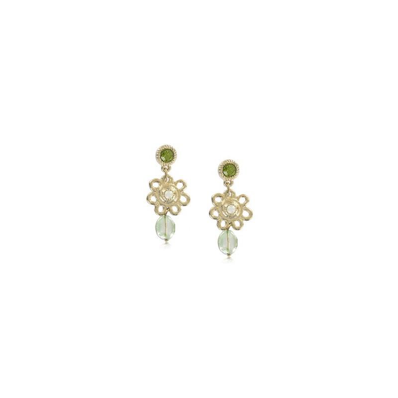 Baño Verde Con Blanco: de oro en colores verde, blanco Largos Con cristales, piedra natural