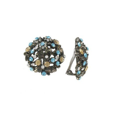 Pendientes de plata antigua en color azul. Cortos. Con cristales
