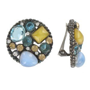 EARRING - PLATED: ANTIQUE SILVER - IN COLOURS: MULTICOLOR