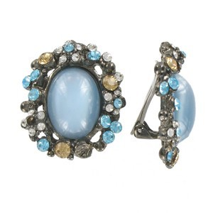 EARRING - PLATED: ANTIQUE SILVER - IN COLOURS: BLUE, MULTICOLOR